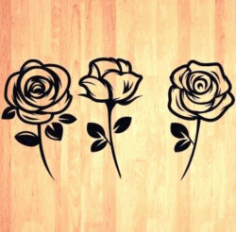 Beautiful Carved Roses Download For Laser Engraving Machines Free CDR Vectors Art