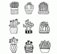 Cactus Download For Laser Engraving Machines Free CDR Vectors Art