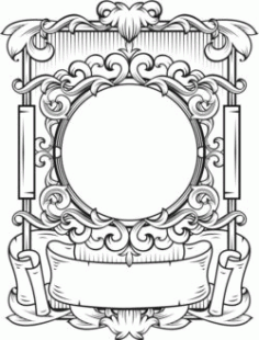Beautifully Decorated Frame For Laser Engraving Machines Free DXF File