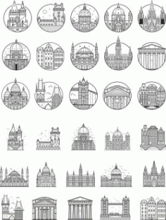 Europe City Outlined For Print Or Laser Engraving Machines Free DXF File