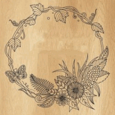 Floral Round Frame For Print Or Laser Engraving Machines Free DXF File