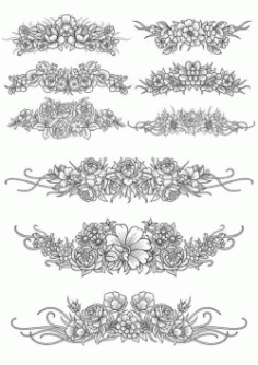 Flowers Decor Set For Print Or Laser Engraving Machines Free DXF File