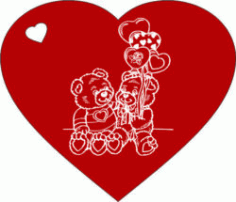 Heart And Couple Bear For Laser Engraving Machines Free DXF File