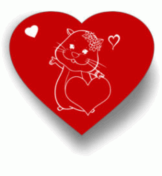 Heart And Mouse For Laser Engraving Machines Free DXF File