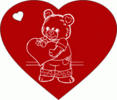 Heart With Teddy Bear For Laser Engraving Machines Free DXF File