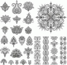 Henna Set For Print Or Laser Engraving Machines Free DXF File