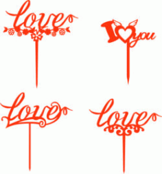 Love Toppers For Laser Cut Free DXF File