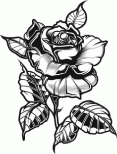Tattoo Rose For Print Or Laser Engraving Machines Free DXF File