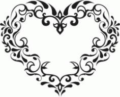Flower Heart Download For Laser Cut Free CDR Vectors Art