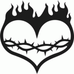 Heart With Flame Download For Laser Cut Free CDR Vectors Art