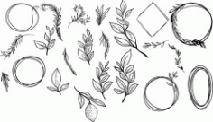 Branch Set For Print Or Laser Engraving Machines Free CDR Vectors Art