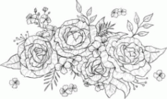 Bunches Of Roses For Print Or Laser Engraving Machines Free CDR Vectors Art