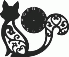 Clock With Engraved Cat For Laser Cut Cnc Free CDR Vectors Art