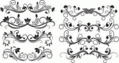 Decor Elements Set For Print Or Laser Engraving Machines Free CDR Vectors Art