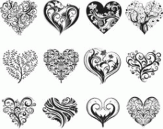 Decorative Heart Motifs For Print Or Laser Engraving Machines Free CDR Vectors Art