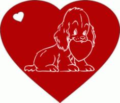 Heart And Dog For Laser Engraving Machines Free CDR Vectors Art