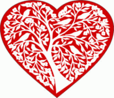 Heart And Tree For Laser Engraving Machines Free CDR Vectors Art