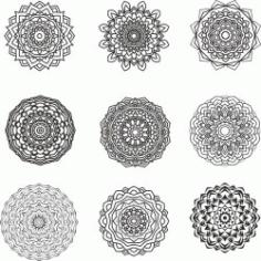 Mandala Design Set For Print Or Laser Engraving Machines Free CDR Vectors Art
