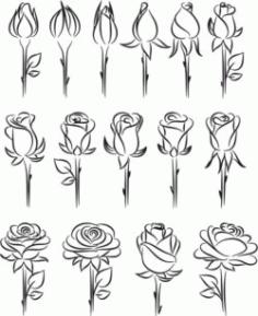 Rosebud For Laser Engraving Machines Free CDR Vectors Art