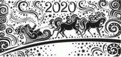 Santa Claus With Reindeer Happy New Year 2020 Free CDR Vectors Art