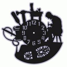 Shoemaker Wall Clock For Laser Cut Free CDR Vectors Art