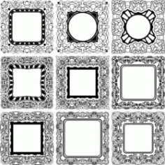 Square Decorative Designs For Laser Engraving Machines Free CDR Vectors Art