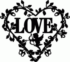 Wreath Of Heart With Cupid For Laser Cut Free CDR Vectors Art