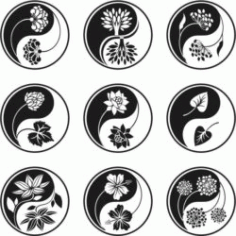Yin And Yang Flower For Laser Engraving Machines Free CDR Vectors Art