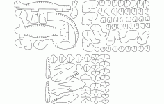 Alligator 3d Puzzle Free DXF File