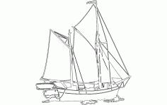 Sailing Ship Free DXF File
