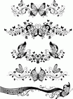 Butterfly Decorated Wall For Laser Cut Free DXF File