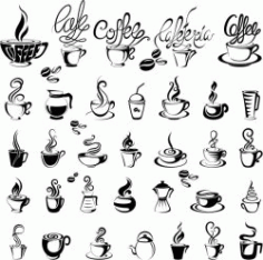 Coffee Icon For Print Or Laser Engraving Machines Free DXF File