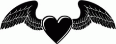 Heart Of Love With Wings For Print Or Laser Engraving Machines Free DXF File