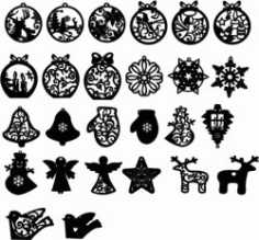 New Year Decoration Toys For Laser Cut Free DXF File