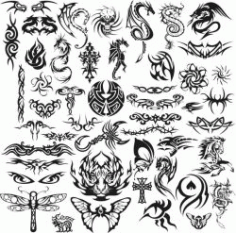 Tattoo Template For Print Or Laser Engraving Machines Free DXF File