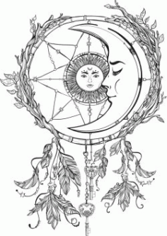 The Moon Embraces The Sun For Print Or Laser Engraving Machines Free DXF File