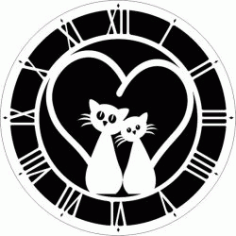 Two Cat Wall Clock For Laser Cut Cnc Free DXF File