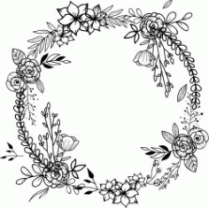 Wreath With Poppies For Print Or Laser Engraving Machines Free DXF File
