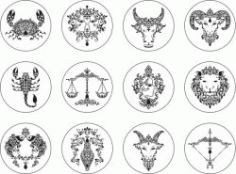 Zodiac Signs For Print Or Laser Engraving Machines Free DXF File