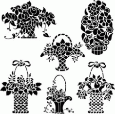 Beautiful Flower Baskets For Print Or Laser Engraving Machines Free CDR Vectors Art