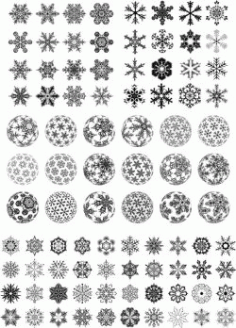 Beautiful Snowflakes And Snowballs For Laser Cut Free CDR Vectors Art