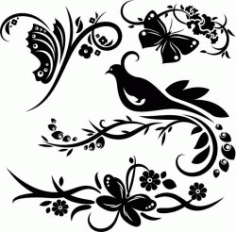 Bird And Tree Laser Engraving Machines Free CDR Vectors Art