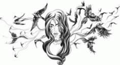 Bird Girl For Laser Engraving Machines Free CDR Vectors Art
