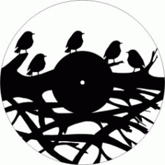 Bird Wall Clock On Tree Branches For Laser Cut Cnc Free CDR Vectors Art