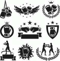 Boxing Icon For Laser Engraving Machines Free CDR Vectors Art