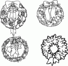 Decoration Wreath For Laser Engraving Machines Free CDR Vectors Art