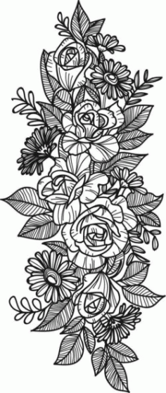 Decorative Flower Bunches For Laser Engraving Machines Free CDR Vectors Art