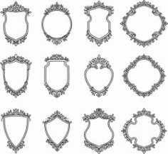 Decorative Frame Set For Laser Cut Cnc Free CDR Vectors Art