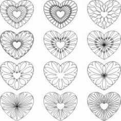 Decorative Heart Pattern For Print Or Laser Engraving Machines Free CDR Vectors Art