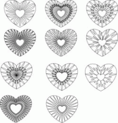 Guilloche Hearts For Print Or Laser Engraving Machines Free CDR Vectors Art